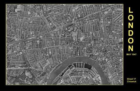 Post-War 1947 London Aerial Map - Sheet 17 - Hammersmith