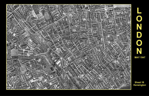 Post-War 1947 London Aerial Map - Sheet 18 - Kensington