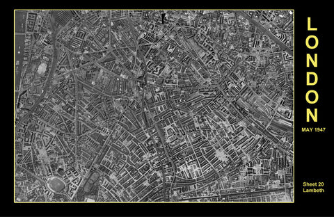 Post-War 1947 London Aerial Map - Sheet 20 - Lambeth