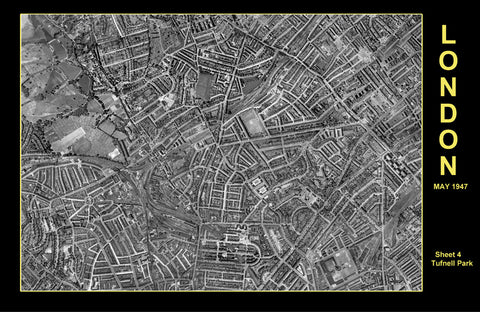 Post-War 1947 London Aerial Map - Sheet 4 - Tufnell Park