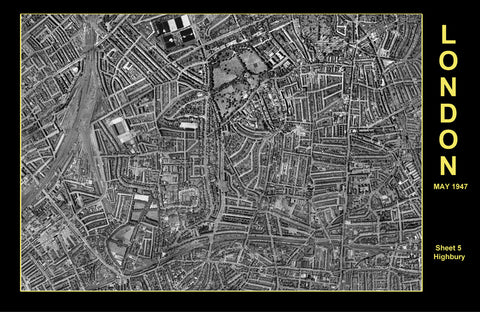 Post-War 1947 London Aerial Map - Sheet 5 - Highbury