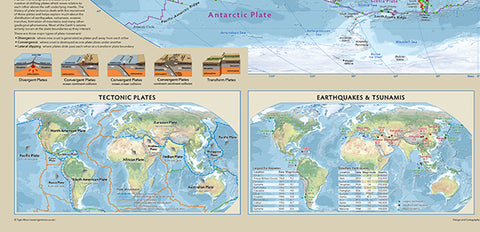 World Tectonics and Structure Map - 100cm x 70cm, Tectonic Plates, Earthquakes, Tsunami, Volcanoes, Continental Drift