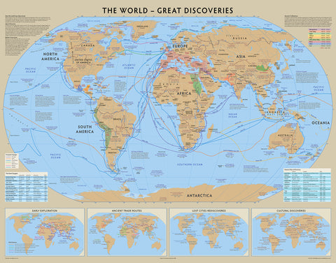 Great Discoveries World Map - 100cm x 70cm