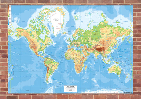 World Physical Mounted Map
