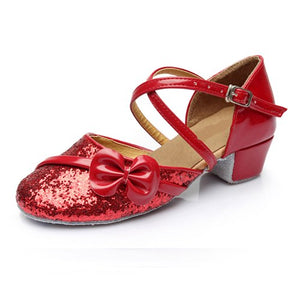 ballroom salsa tango latin dance shoes low heels dancing for kids girls children women ladies in stock