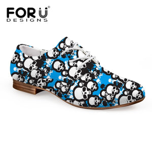 FORUDESIGNS British Style Oxford Shoes for Women Printing Skull Women Soft Flats Shoes Vintage Ladies Shoes Casual Oxford Shoes