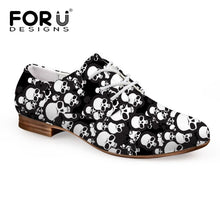 Load image into Gallery viewer, FORUDESIGNS British Style Oxford Shoes for Women Printing Skull Women Soft Flats Shoes Vintage Ladies Shoes Casual Oxford Shoes