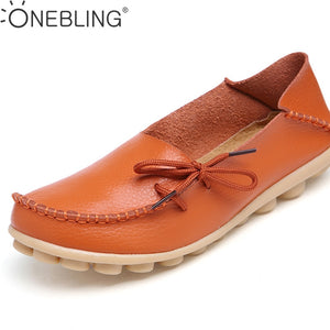 b092be621a7 Plus Size 35-44 Genuine Leather Women Shoes 2017 Spring Fashion Soft  Lace-up Casual Flat Shoes Peas Non-Slip Outdoor Shoes