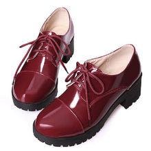 Load image into Gallery viewer, 2017 Classic Ladies Work Office Shoes Black Patent Leather Low Heel Lace Up Round Toe Oxfords For Women Booties Burgundy Cheap