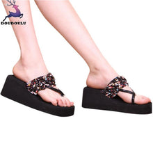 Load image into Gallery viewer, Bohemian Slippers Stain Floral Wedge Heeled Flip Flops Summer Beach Sandals Fashion Casual Mid Heels Shoes Woman Zapatos Mujer
