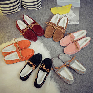 Autumn Winter Women Warm Flats Rubber Soft Round Casual Peas Flat Shoes