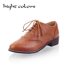 Load image into Gallery viewer, Hot 2018 Womens Ladies Vogue Classic Round Toe Lace Up Low Heel Oxford Brogue Shoes For Women Color Block Casual Flat Shoes