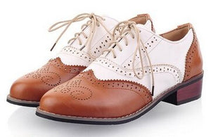 Hot 2018 Womens Ladies Vogue Classic Round Toe Lace Up Low Heel Oxford Brogue Shoes For Women Color Block Casual Flat Shoes