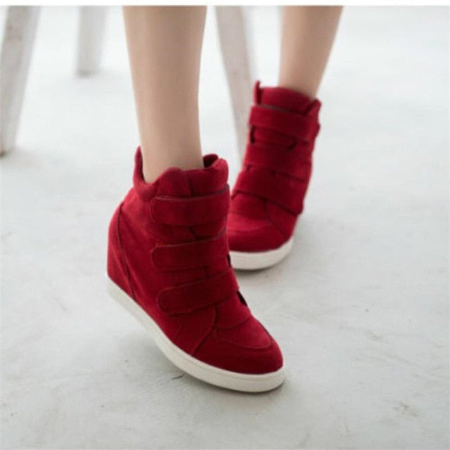 Women Shoes Autumn Winter Hidden Heel Flock Fashion Wedge Casual Shoes Woman Style With High Heels 6.5cm Big Size 35~40
