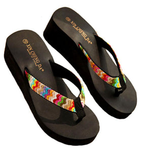 Best Selling Candy Color Leisurely Summer Platform Sandals Beach Flat Wedge Patch Flip Flops Lady Slippers