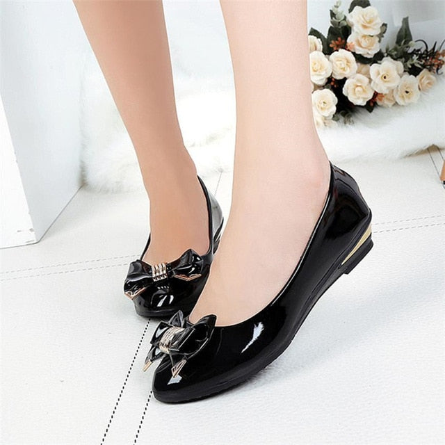 Spring Autumn Toe Heels Bow Tie Women Shoes Fashion Women's Shoes Casual Shoes Woman Moccasins Zapatos Mujer Black White Red