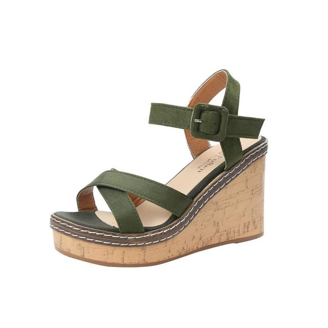mokingtop platform sandals women Women Fish Mouth Platform High Heels Wedge Sandals Buckle Slope Sandals Summer Shoes ##