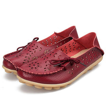 Load image into Gallery viewer, Aphixta Genuine Leather Shoes Woman Loafers Summer Cut-Outs Hollow Flats Moccasins Breath Mesh Ladies Mother Footwear Flat Shoe