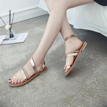 Load image into Gallery viewer, Women Summer Strappy Gladiator Low Flat Heel Flip Flops Beach Sandals Shoes female Shoes Beach Sandals Casual Shoes sandalias