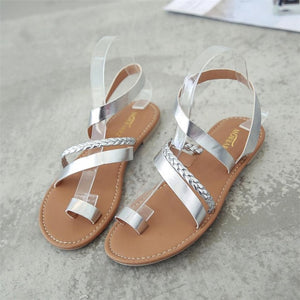 Women Summer Strappy Gladiator Low Flat Heel Flip Flops Beach Sandals Shoes female Shoes Beach Sandals Casual Shoes sandalias