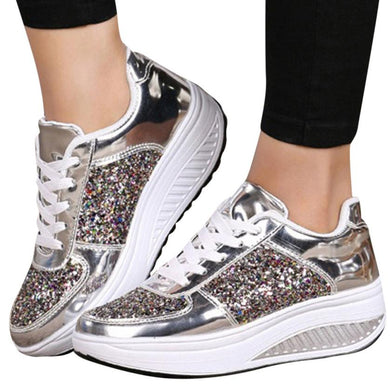 mokingtop Women's Ladies Wedges Sneakers Sequins Shake Shoes women shoes Fashion Girls Sport Shoes @@