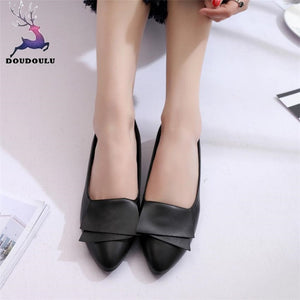 Summer Office Shoes Woman Pumps Wedding Office Dress Pointed Ladies Shoes Leather Slip On Casual Women Shoes zapatos mujer