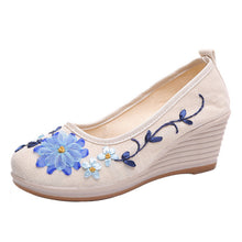 Load image into Gallery viewer, klv new 2018 Women's Shoes Of National Style And Flax With Embroidered Rib Bottom Casual shoes woman sandal 2018 pumps women #8