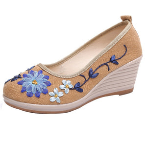 klv new 2018 Women's Shoes Of National Style And Flax With Embroidered Rib Bottom Casual shoes woman sandal 2018 pumps women #8