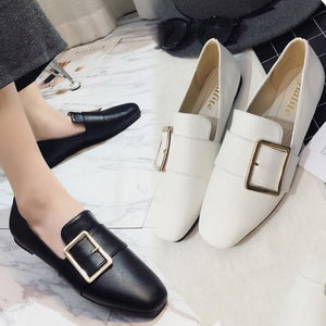 Fashion Spring Women Flats Shoes Ladies Solid Color Square Buckle Flat Heel Casual Shoes Single Shoes Women Plus Size 35-40