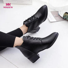 Load image into Gallery viewer, 2018 Women Fashion Shoes Vintage Boots Thick Short Boots Women's Leather Ankle Boots Female Winter Warm Lace-up Shoes Botas