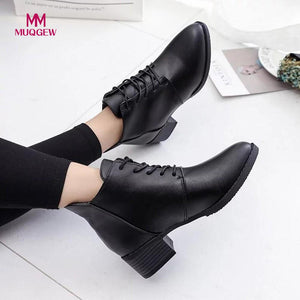2018 Women Fashion Shoes Vintage Boots Thick Short Boots Women's Leather Ankle Boots Female Winter Warm Lace-up Shoes Botas