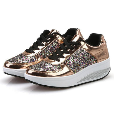 Women Platform Shoes Wedge Sneaker Lace-Up Bling Ladies Shoes Silver Gold White Sequins Wedge Sneaker Zapatos Mujer Dropshipping