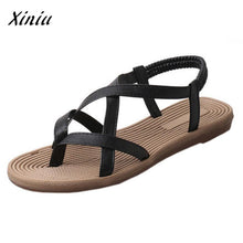 Load image into Gallery viewer, xiniu Women Flat Shoes Bandage Bohemia Leisure Lady Sandals Peep-Toe Outdoor Shoes Size 35-40 Black White 2 Colors