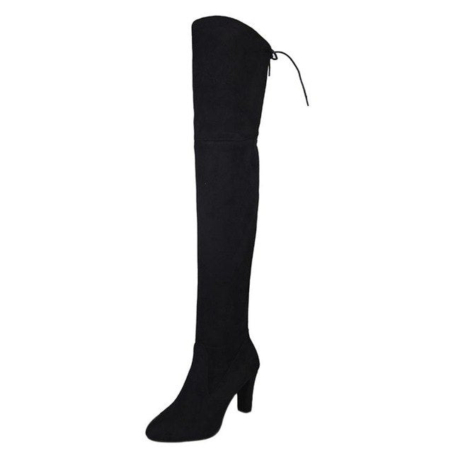 shoeswoman   Women Stretch Faux Slim High Boots Over The Knee Boots High Heels Shoes     O1011#30