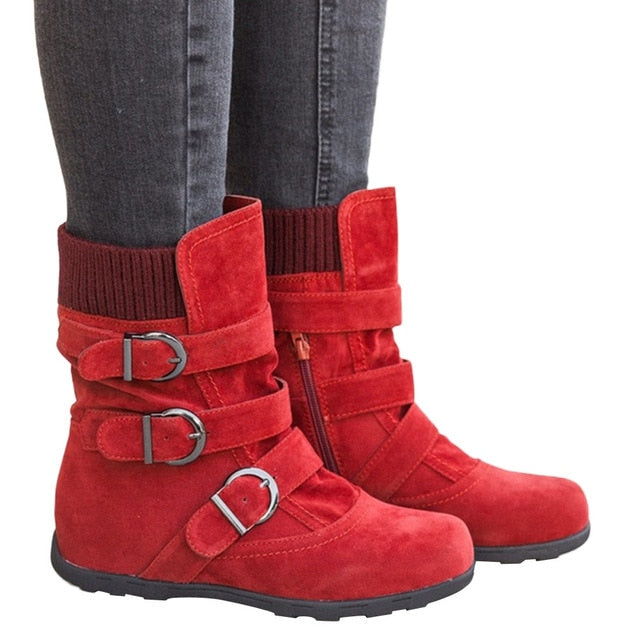 winter boots women Suede Round Toe Zipper Flat Pure Color Buckle Strap Keep Warm Snow Boots high quality botas mujer