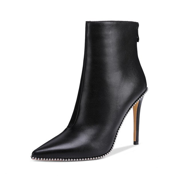 onlymaker Pointed Toe Studded Rivet Ankle Boots for Women Side Zipper Dress High Heels Booties Black