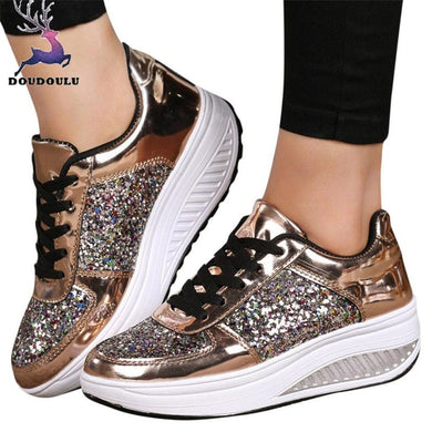 Women's Ladies Wedges Sneakers Sequins Shake Shoes Fashion Girls Workout Shoes Woman 2018 New Women Shoes zapatos mujer