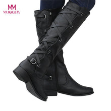 Load image into Gallery viewer, MUQGEW botines mujer 2018 shoes woman Ladies Buckle Roman Riding Knee High Cowboy winter boots women casual  Long Boots botas