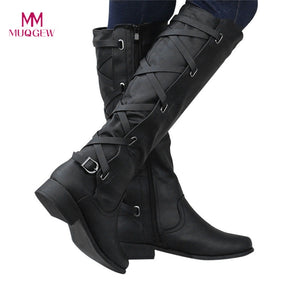 MUQGEW botines mujer 2018 shoes woman Ladies Buckle Roman Riding Knee High Cowboy winter boots women casual  Long Boots botas