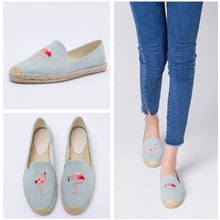 Load image into Gallery viewer, women's espadrille Embroider shoes Comfortable slippers Ladies Womens Casual Shoes Breathable Flax Hemp Canvas Blue Flamingo