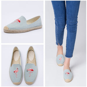 women's espadrille Embroider shoes Comfortable slippers Ladies Womens Casual Shoes Breathable Flax Hemp Canvas Blue Flamingo