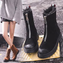 Load image into Gallery viewer, Women Boots Shoes Winter Keep Warm Snow Boots Fashion Mid-calf Shoes Zip Flat Cotton Boots Non-slip Boots Shoe Botines Mujer