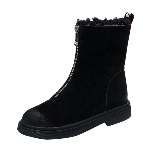 Women Boots Shoes Winter Keep Warm Snow Boots Fashion Mid-calf Shoes Zip Flat Cotton Boots Non-slip Boots Shoe Botines Mujer