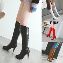 Load image into Gallery viewer, Xiniu New Fashion Retro Women's Mid-calf Boots Belt Buckle Rear Tie Shoes Round-Toe Fine Heel High Boots chaussures femme