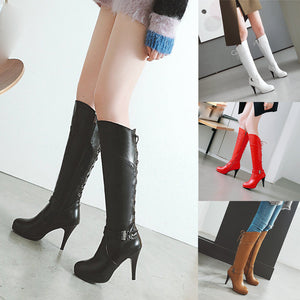 Xiniu New Fashion Retro Women's Mid-calf Boots Belt Buckle Rear Tie Shoes Round-Toe Fine Heel High Boots chaussures femme