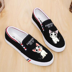 100% Hand Paingting Girl Cartoon Canvas Shoes Flat Bottom Schoolgirl Graffiti Canvas Shoes Small White Shoes Lazy Flats Sweet