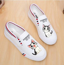 Load image into Gallery viewer, 100% Hand Paingting Girl Cartoon Canvas Shoes Flat Bottom Schoolgirl Graffiti Canvas Shoes Small White Shoes Lazy Flats Sweet