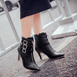 YOUYEDIAN Women Boots 2018 Ankle Boots For Women Thin Heel Zipper Autumn Female Casual Shoes High Heel Boots Bottes Femme