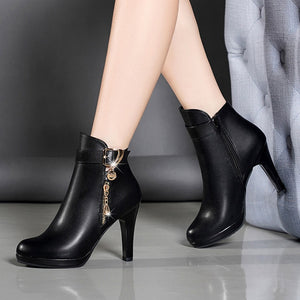 002bf576eae YOUYEDIAN Boots Women 2018 Autumn Ankle Boots For Women Thin Heel Zipper  Casual Female Shoes Leather Boots Botas Mujer
