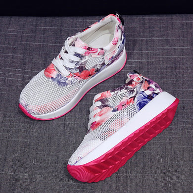Shoes woman Casual Shoes Breathable Hollow Lace-Up Sneakers Printed Platform Shoes zapatillas mujer